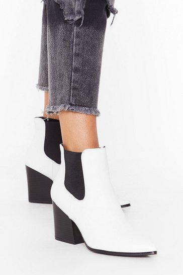 White Faux leather heeled chelsea boots