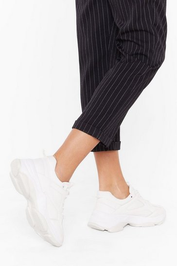 Womens White Run the Show Chunky Sneakers