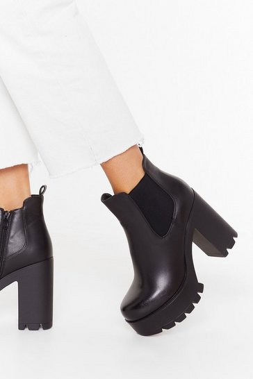 Womens Black Big Cleated High Heeled Chelsea Boots