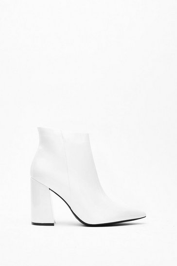 Womens White Patent Flare Heel Ankle Boot
