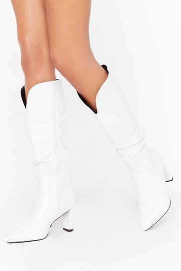 Womens White Slouch Heeled Knee Boots