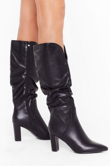 Womens Black Heel Like Dancing Faux Leather Knee High Boots