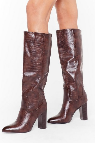 Womens Brown Faux Croc Heeled Knee Boots