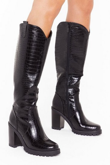 Womens Black Snake a Hint Faux Leather Knee-High Boots