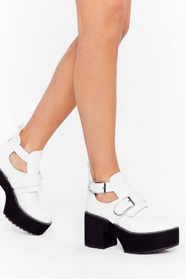 Womens White Take Me Cut-Out Faux Leather Platform Boots