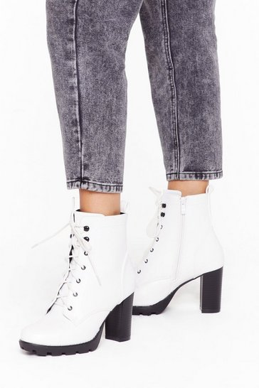 Womens White Heels Like the Right Time Faux Leather Lace-Up Boots