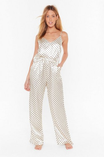 Womens Cream Dot Going Out Satin Pajama Pants Set