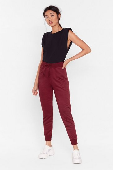 Womens Burgundy On the Run High-Waisted Joggers