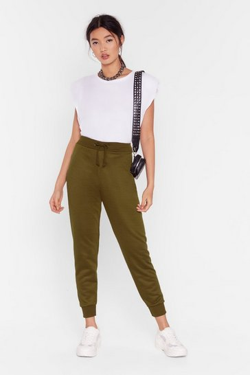 Womens Khaki On the Run High-Waisted Joggers