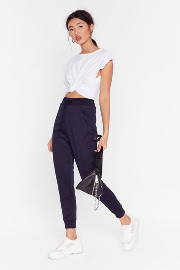 Womens Navy On the Run High-Waisted Joggers