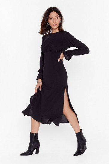 Black I Won't Be Ruched Relaxed Midi Dress