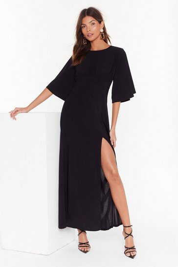 Womens Black Angel in Disguise Wide Sleeve Maxi Dress