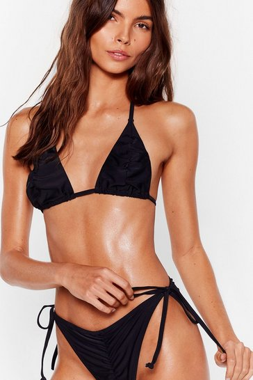 Black Are You Shore Ruched Triangle Bikini Set
