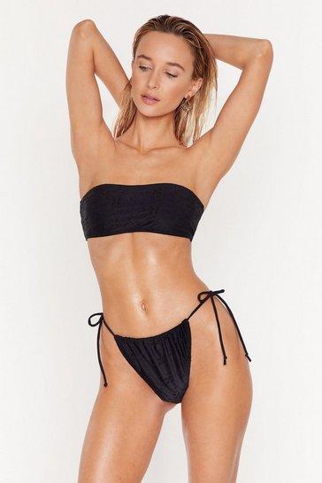Black Salty but Sweet Broderie Tie Bikini Bottoms