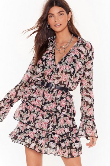 Womens Black The Heat Grows On Floral Ruffle Mini Dress