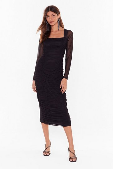 Womens Black Mesh Behavior Ruched Midi Dress