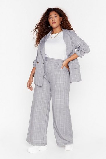 Womens Grey Not At Your Check and Call Plus Wide-Leg Pants