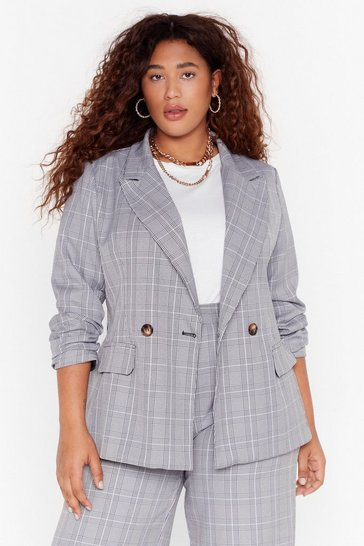 Womens Grey Not At Your Check and Call Plus Blazer