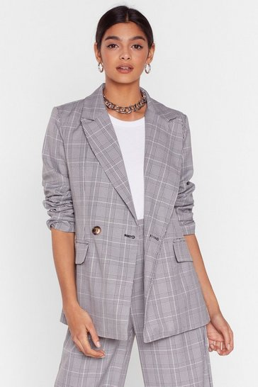 Grey Grid It Your All Check Oversized Blazer