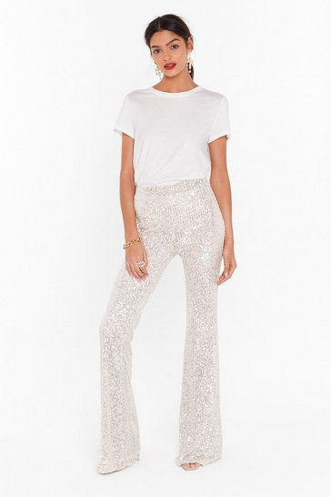 Womens Beige Born to Sequin High-Waisted Flared Pants