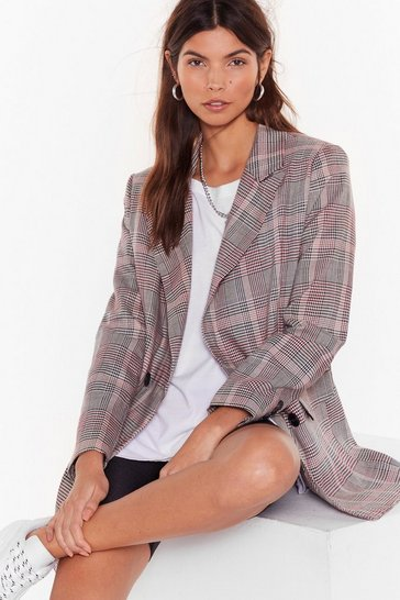 Beige Check Over It Overiszed Blazer