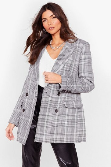 Black Check Oversized Double Breasted Tailored Blazer