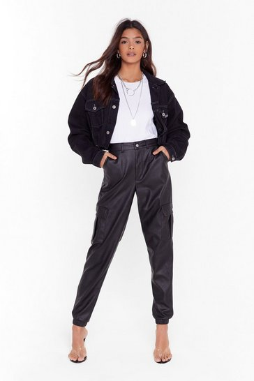 Black Faux Leather Let Me Cargo High-Waisted Pants