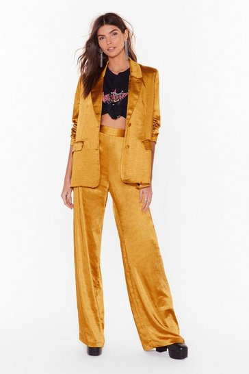 Womens Mustard Satin It to Win It Wide-Leg Pants