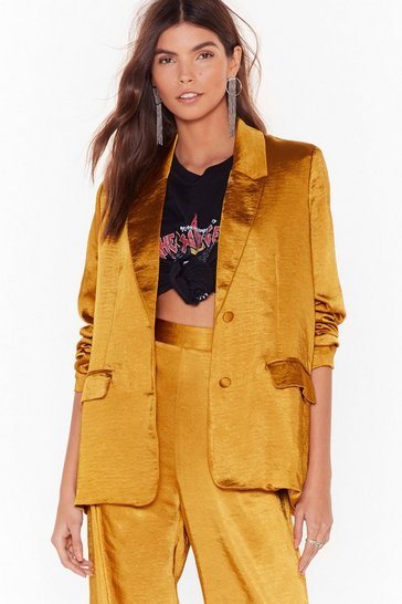 Mustard Ready for the Sleek-end Satin Blazer