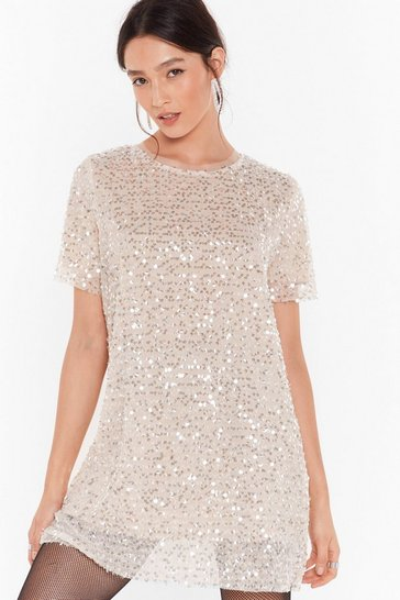 Beige You Can't Sequin Them All Tee Dress