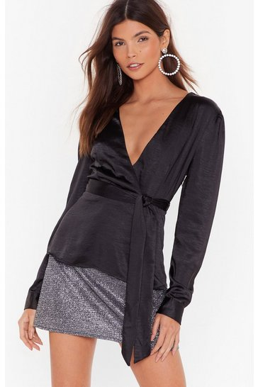 Black Drape 'Em Work Satin V-Neck Blouse