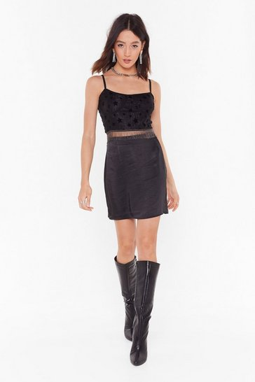 Womens Black Smooth That Out Satin High-Waisted Mini Skirt