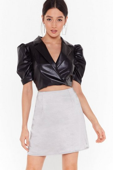 Womens Silver Smooth That Out Satin High-Waisted Mini Skirt