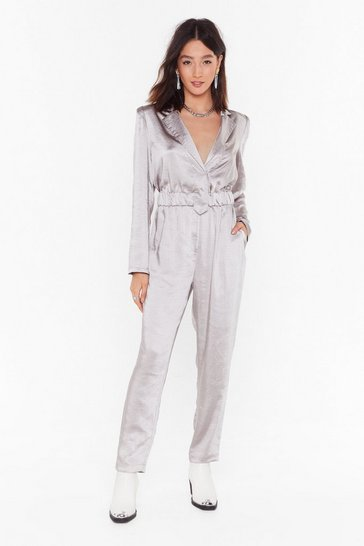 Womens Silver Let It Satin Relaxed Jumpsuit