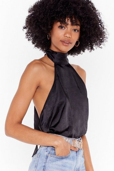 Womens Black There She is Satin High Neck Top