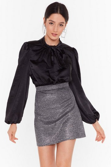 Womens Black  Bow More Excuses Satin Blouse