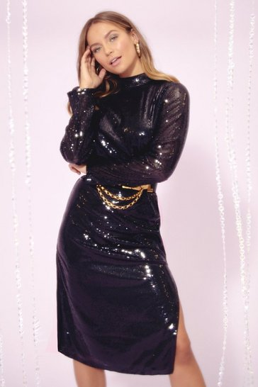 Black Sequin You Over High Neck Midi Dress