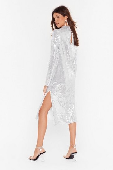 Silver Sequin You Over High Neck Midi Dress