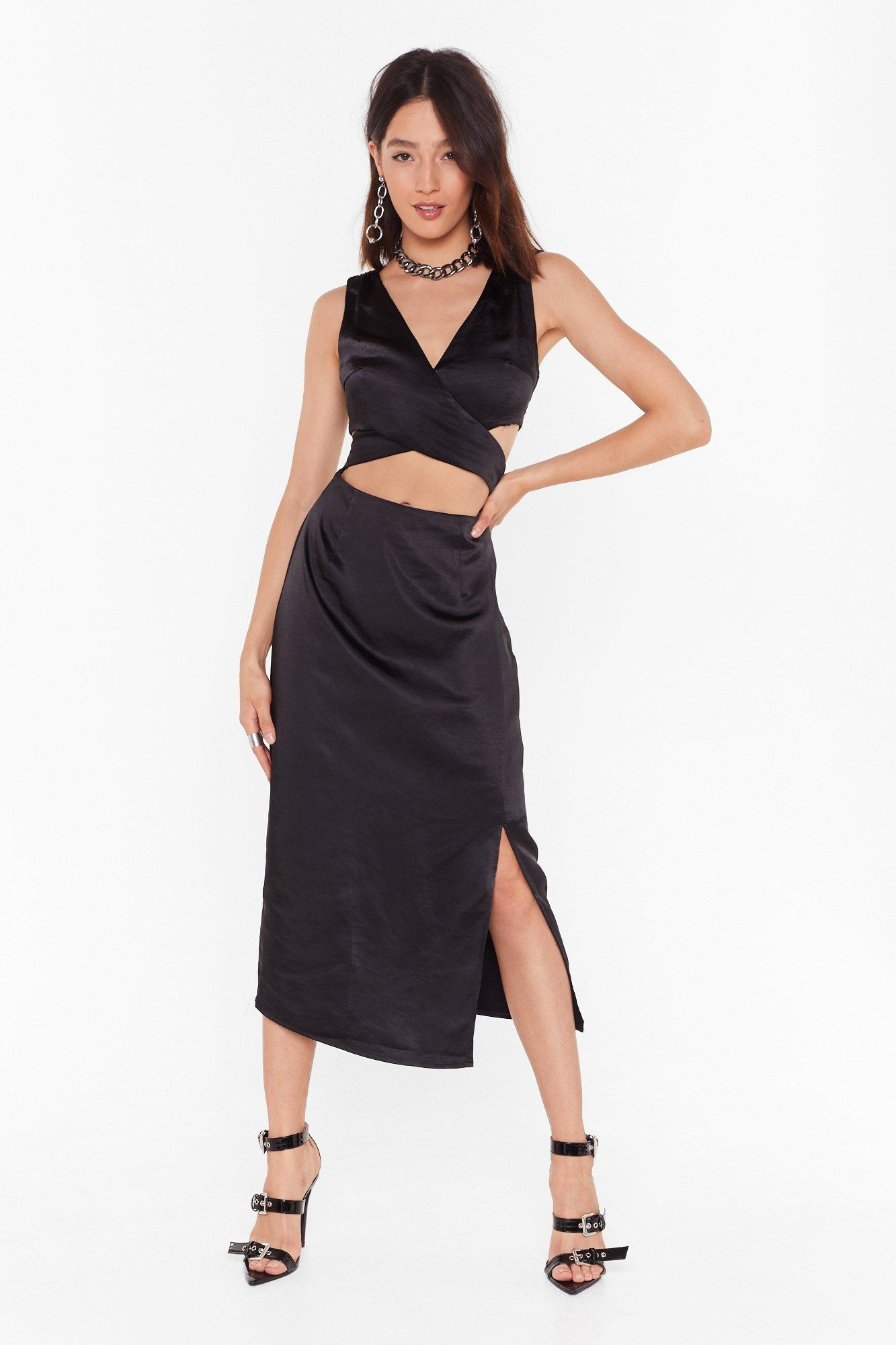 Cut Out To Party Satin Midi Dress by Nasty Gal
