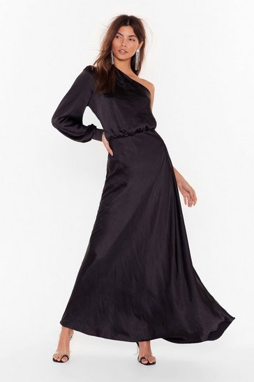 Womens Black Party at the Back Satin Maxi Dress