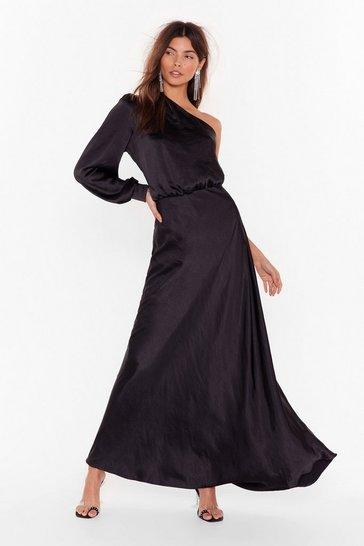 Black Party at the Back Satin Maxi Dress