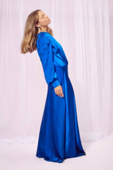 Womens Cobalt Party at the Back Satin Maxi Dress