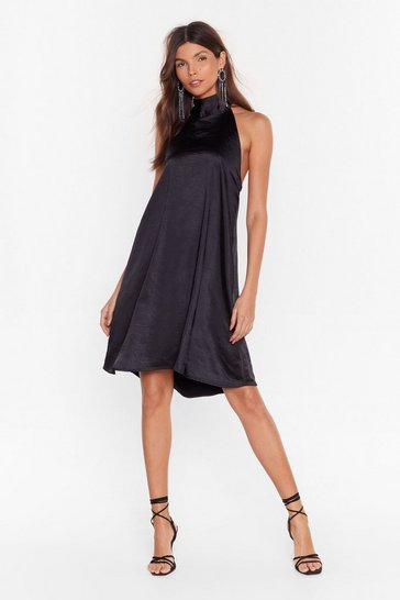 Womens Black Holding On Satin Halter Dress