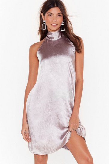 Womens Silver Holding On Satin Halter Dress
