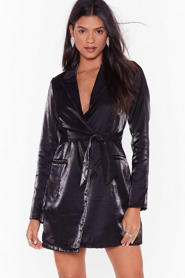 Black Doin' Just Shine Belted Blazer Dress