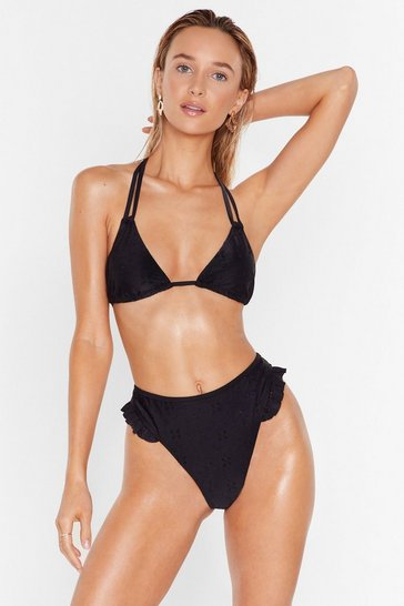 Black Salty but Sweet Broderie Ruffle Bikini Bottoms