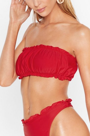 Red Be Shore of Yourself Ruffle Bandeau Bikini Set