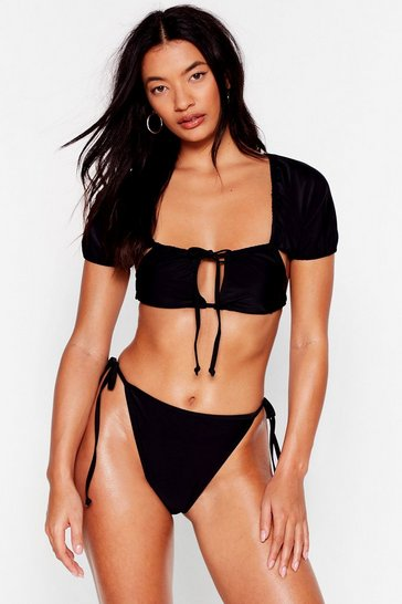 Black Water Baby High-Leg Strappy Bikini Set