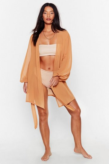 Caramel Sea You Soon Wrap Cover-Up Dress
