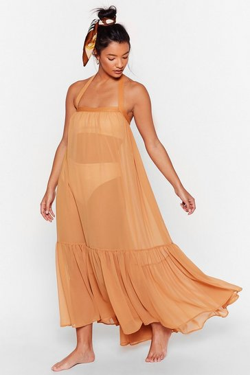 Caramel I'll Be Waiting Right Tier Cover-Up Midi Dress